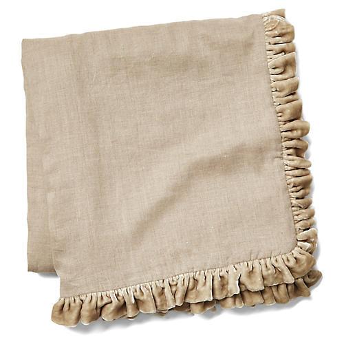 Silk Ruffle Velvet Throw, Natural