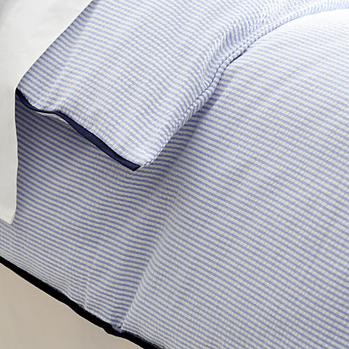 Seersucker Duvet, Blue/White