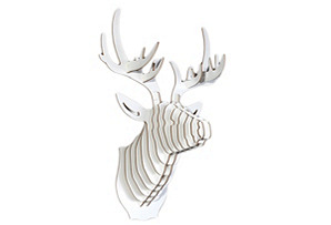Wooden Deer Head, White