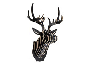 Wooden Deer Head, Black