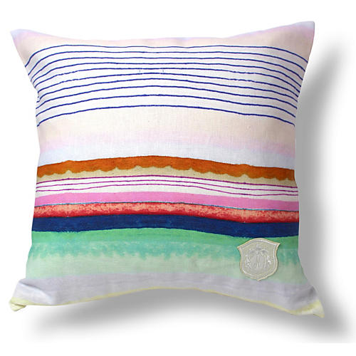 Sugared Stripe 18x18 Linen Pillow