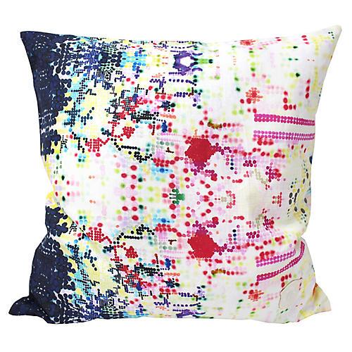 Pixelated 18x18 Linen Pillow, Pink
