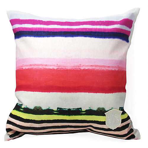 Vibrant Stripe 18x18 Linen Pillow, Red