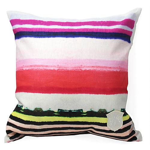 Vibrant Stripe 18x18 Linen Pillow, Red