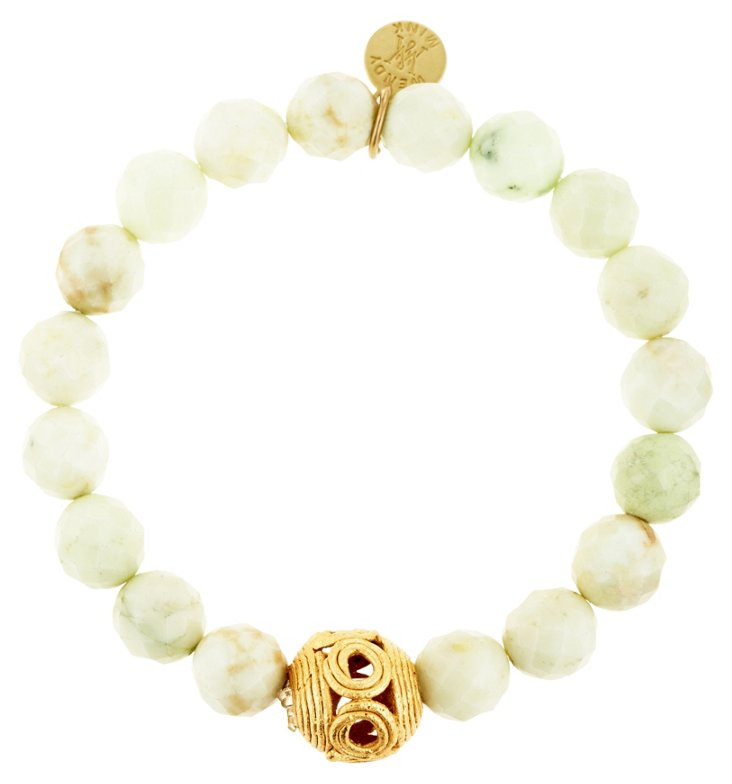 Cream Bead & Hollow Ball Bracelet