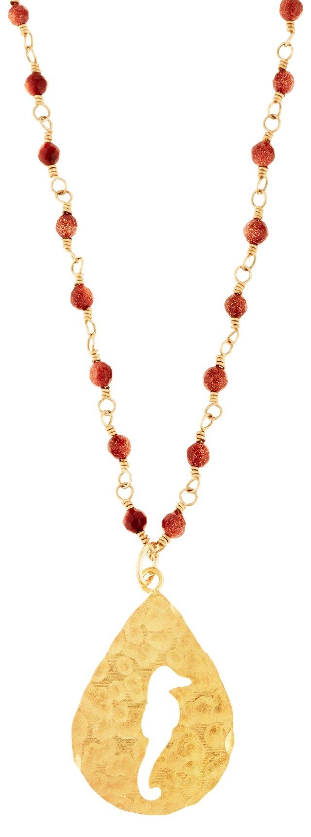 Circle Seahorse Pendant, Red