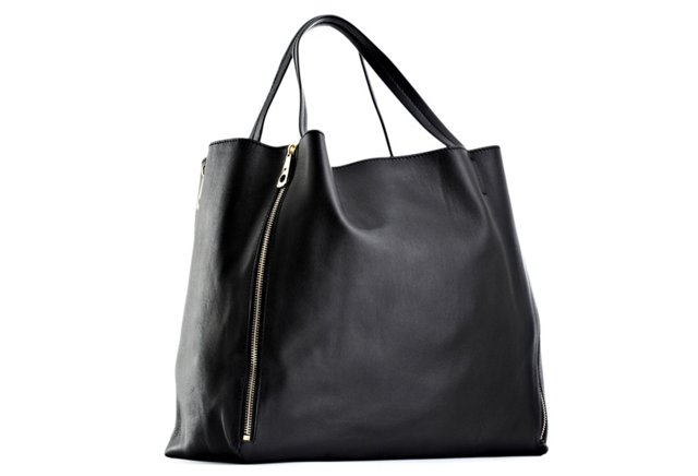 Expandable Leather Tote, Black