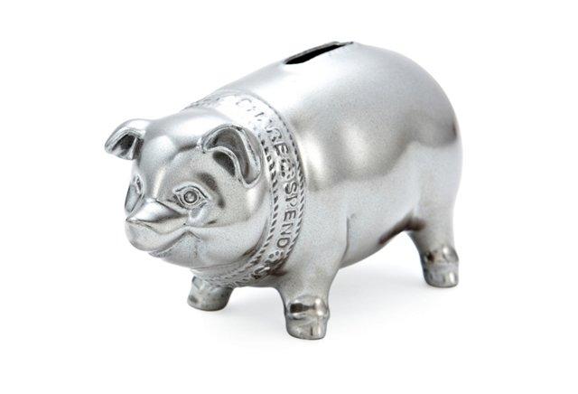 Cornerstones Piggy Bank, Pewter