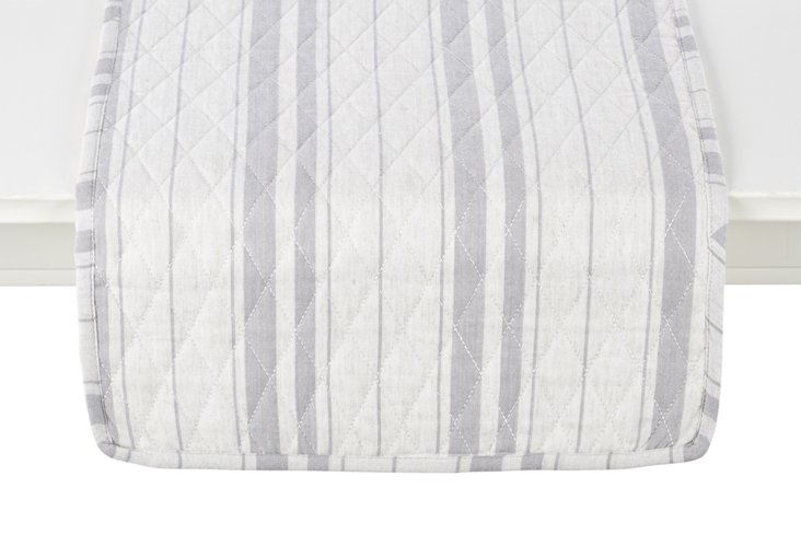 French Market Striped Table Runner, Gray