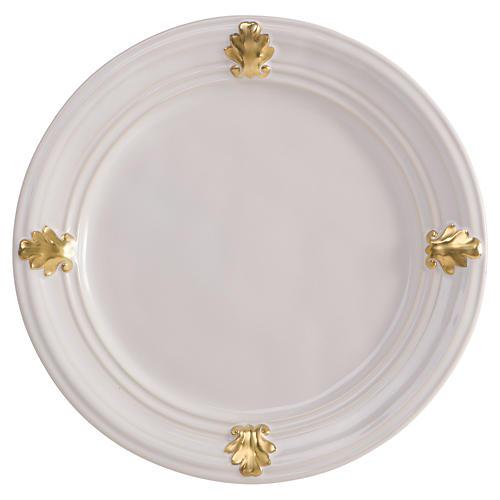 Acanthus Dessert/Salad Plate, White/Gold
