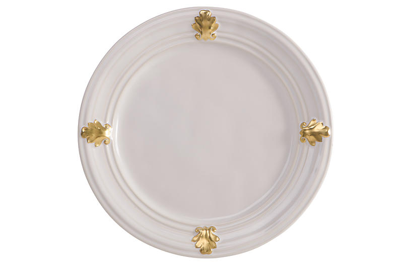 Acanthus Dessert/Salad Plate, White/Gold