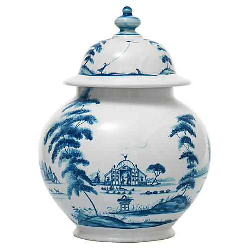 Country Estate Lidded Ginger Jar, Delft Blue
