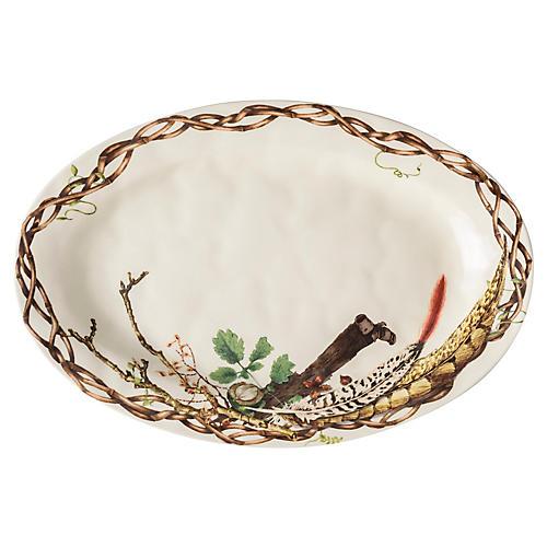 """21"""" Forest Walk Platter, Ivory/Multi"""