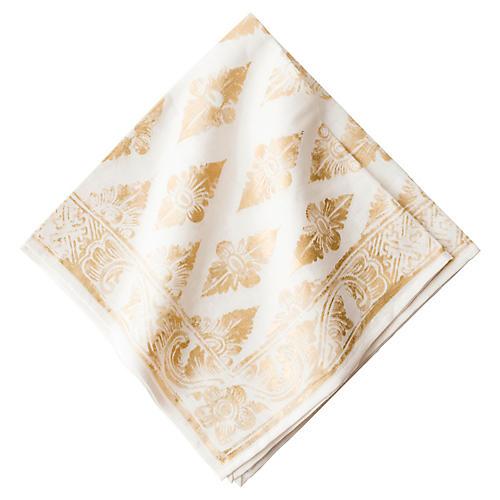 Florentine Gypsy Napkin, Gold/White