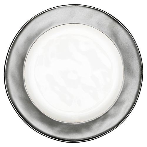 Emerson Dessert Plate, White/Pewter
