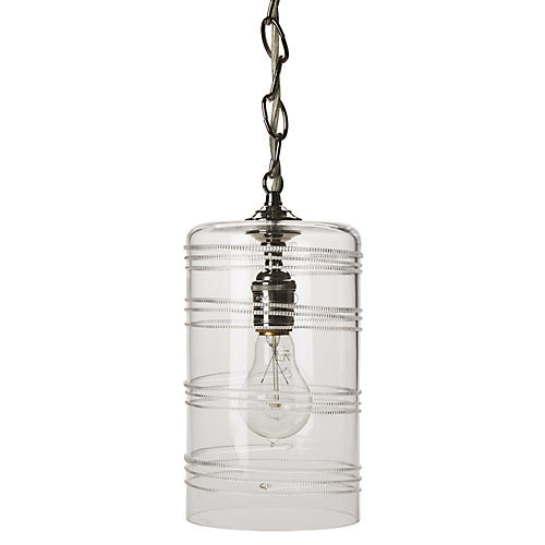 Ella Column Pendant, Brushed Nickel