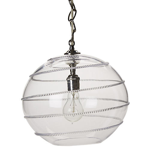 Amalia Globe Pendant, Brushed Nickel