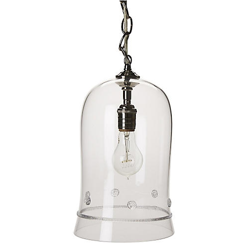 "Isabella 13"" Cloche Pendant, Nickel"