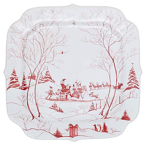 Country Estate Winter Cookie Tray, Ruby/White