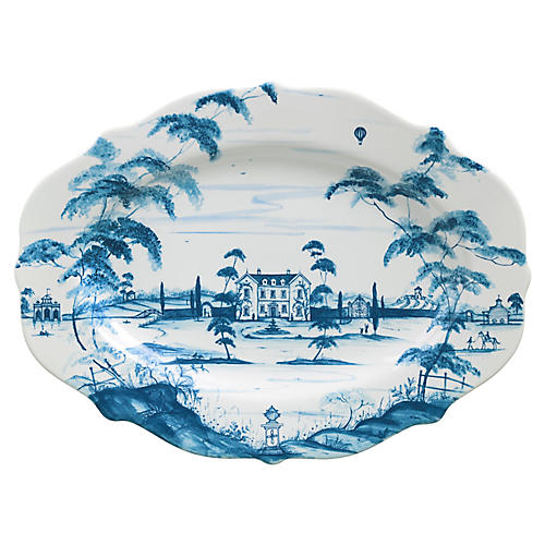 Main House Serving Platter, Delft Blue