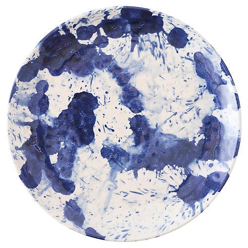 Splatter Melamine Dessert Plate, Blue/White