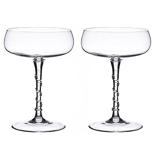 S/2 Amalia Champagne Coupes, Clear
