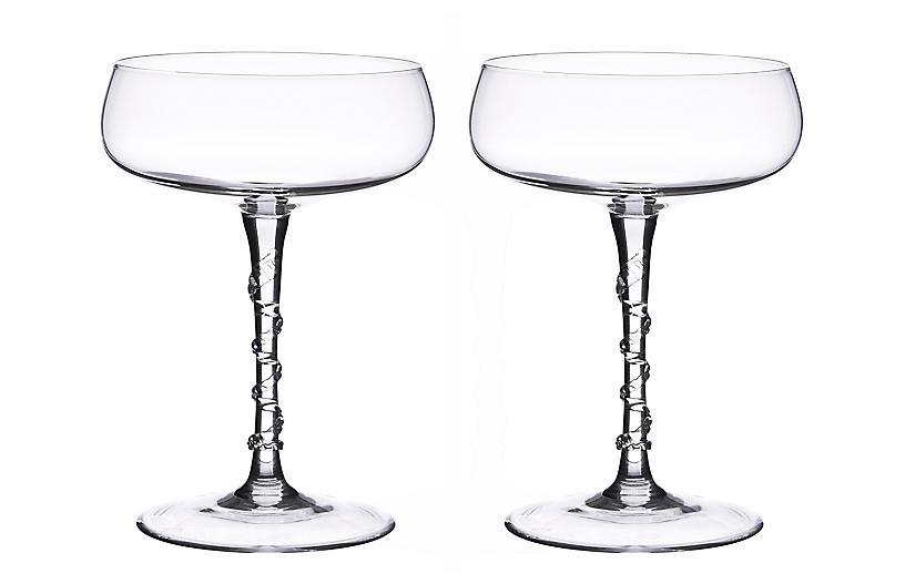 S/2 Amalia Champagne Coupes, Clear
