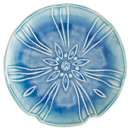 Sea Urchin Dessert Plate, Delft Blue