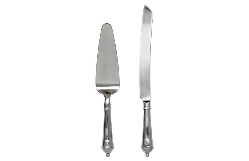Asst. of 2 Berry & Thread Cake Server Set, Silver