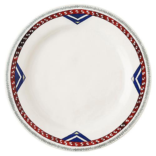 Tangier Dinner Plate, White/Multi
