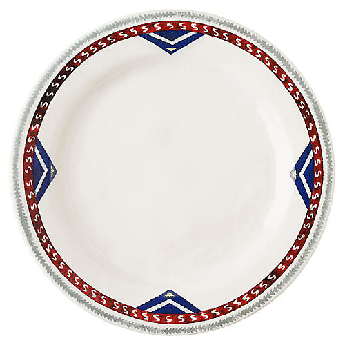 Tangier Dinner Plate, White/Multi