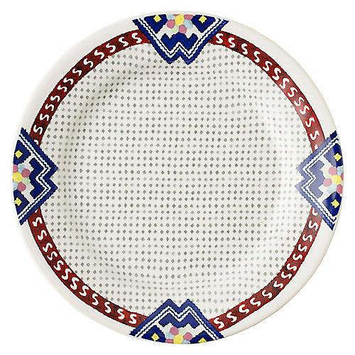 Tangier Dessert Plate, White/Multi