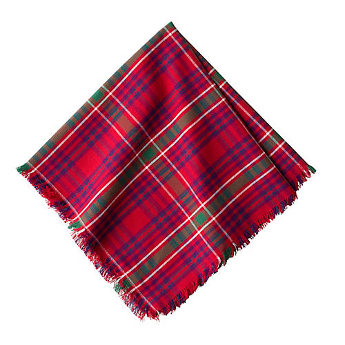 Christmas Tartan Dinner Napkin, Red/Multi