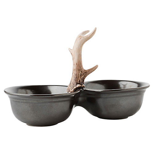 Forest Double Serving Bowl, Pewter