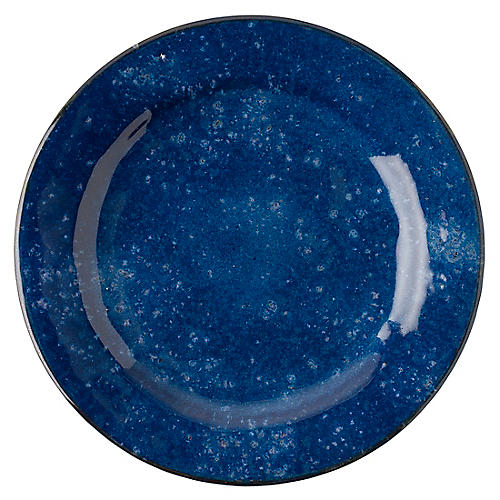 Puro Dappled Dinner Plate, Cobalt