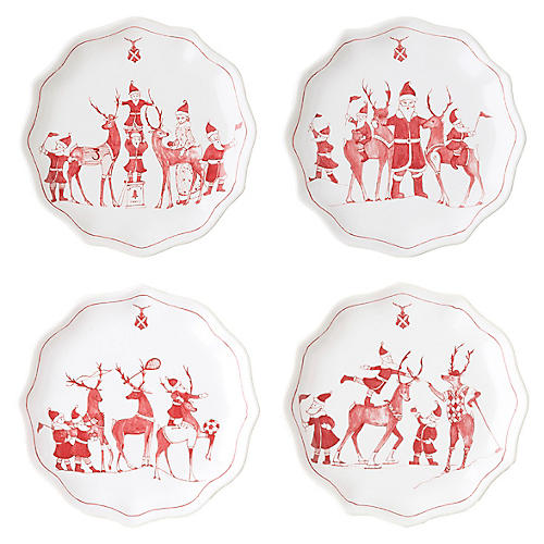 S/4 Reindeer Games Dessert Plates, Multi