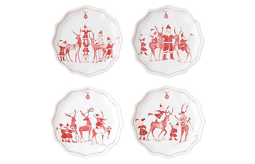 Set of 4 Reindeer Games Dessert Plates - Juliska