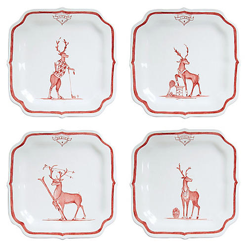 S/4 Reindeer Sports Dessert Plates, Multi