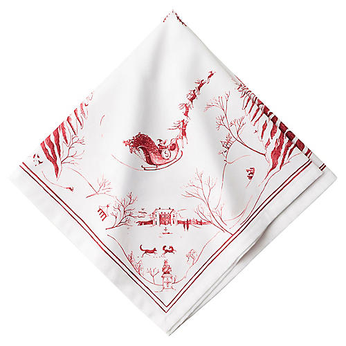 Country Estate Frolic Dinner Napkin, White/Red