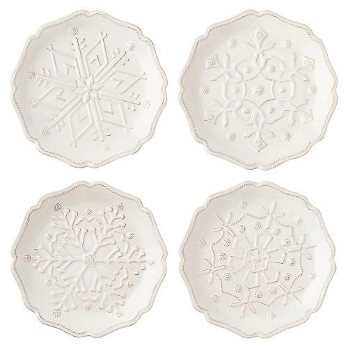 S/4 Berry & Thread Snowfall Dessert Plates, Multi