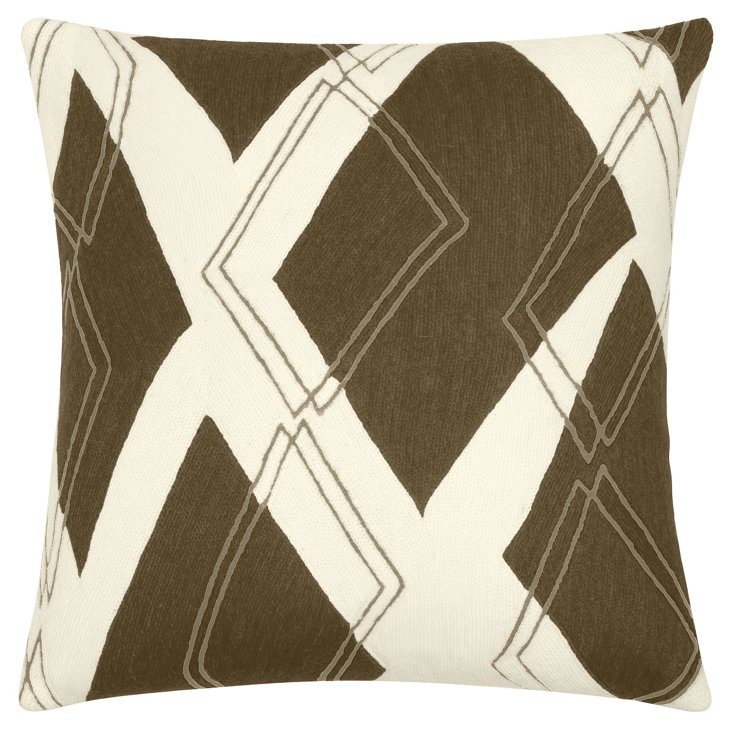 Argyle 18x18 Pillow, Cream