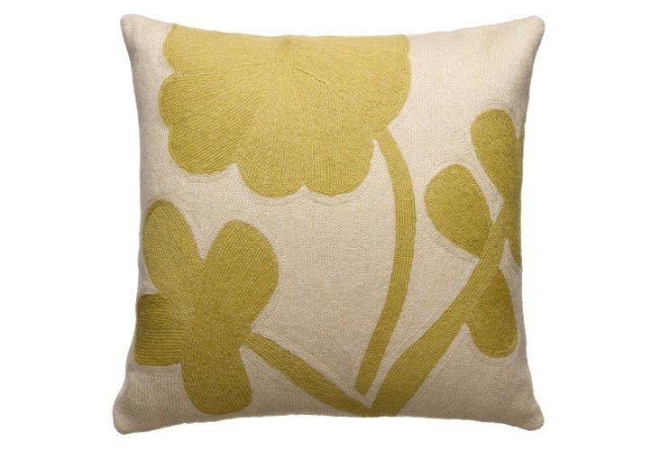 Clover 16x16 Pillow, Wheat