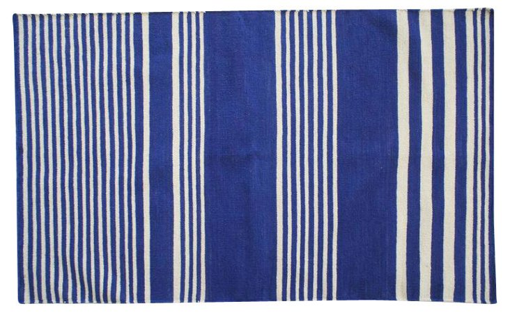 Aziza Flat-Weave Rug, Navy/Cream