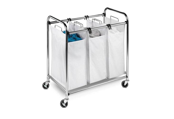3-Section Laundry Sorter, Chrome