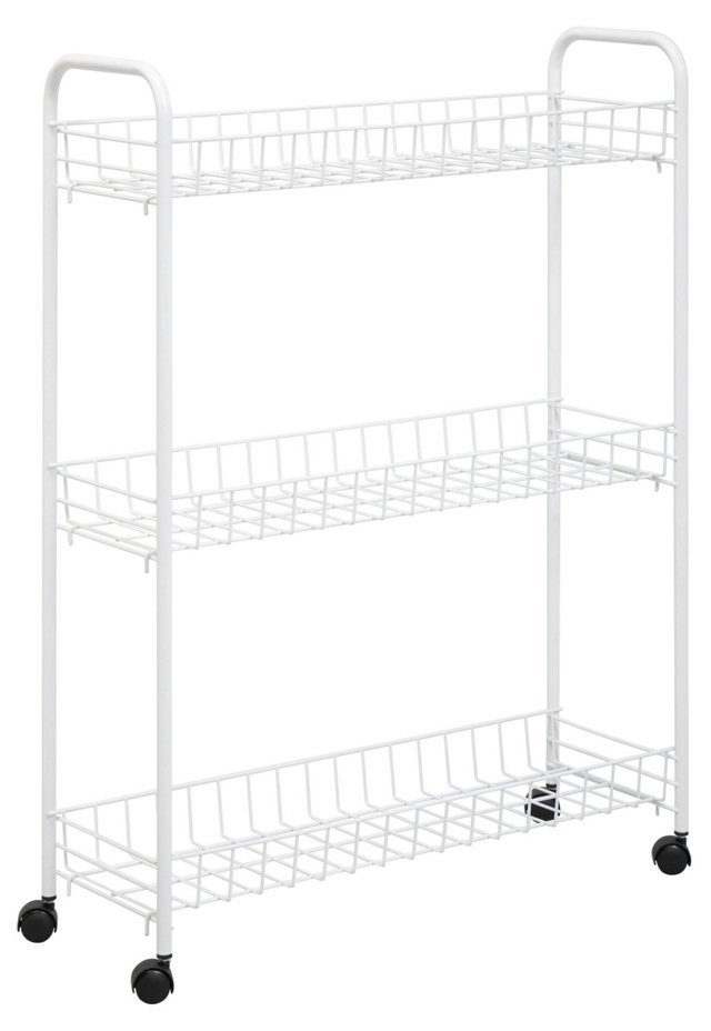 3-Tier Rolling Cart, White