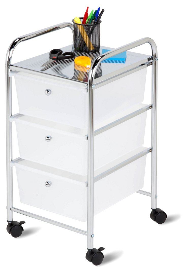 3-Drawer Rolling Cart Clear