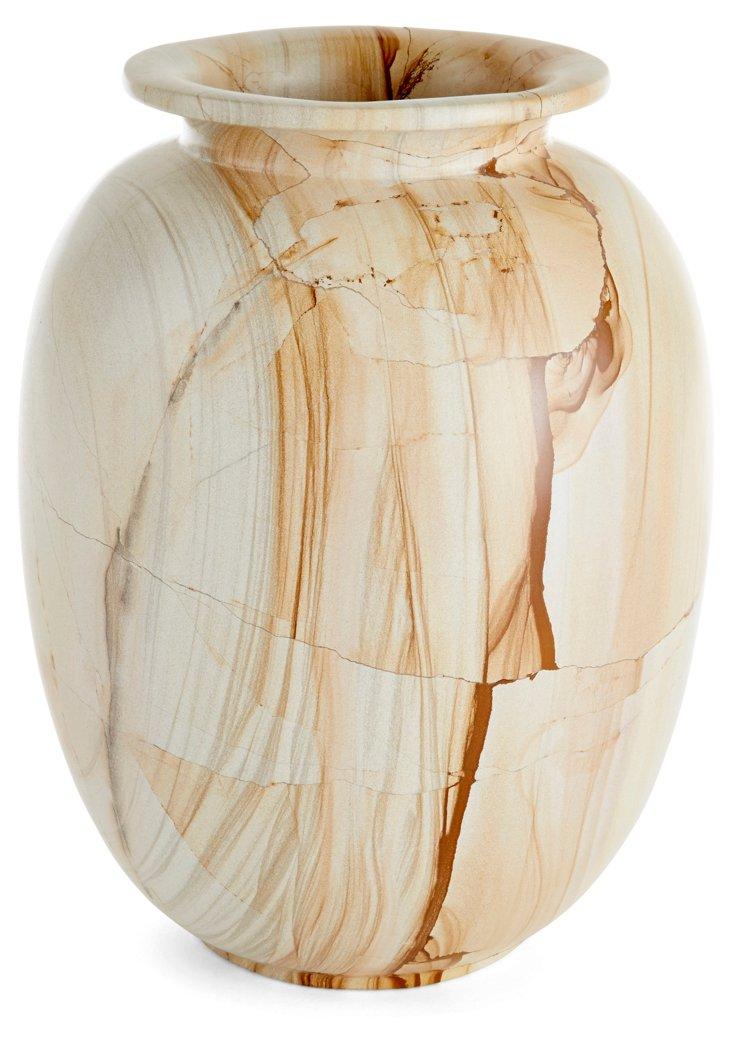 "10"" Marlstone Matka Vase, Tan/Brown"