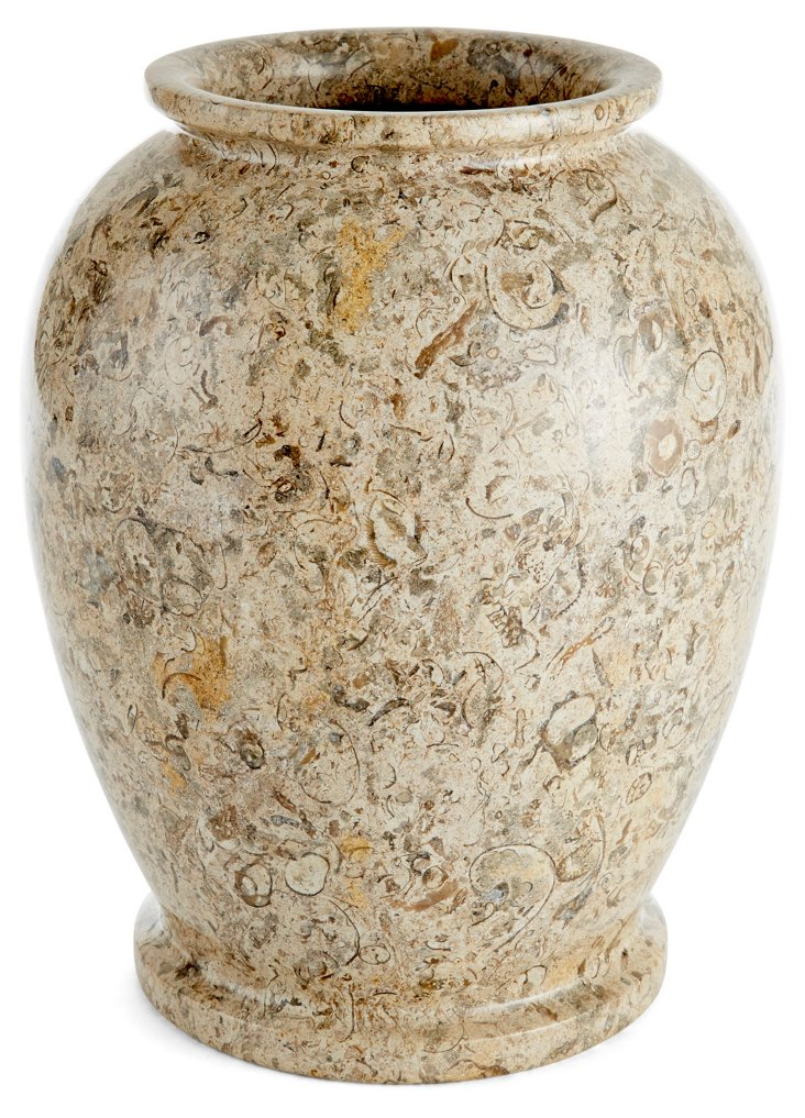 "10"" Limestone Matka Vase, Taupe"