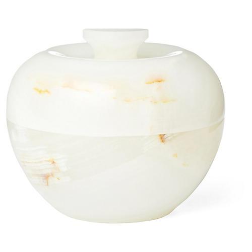 "4"" Onyx Apple Jar, White"
