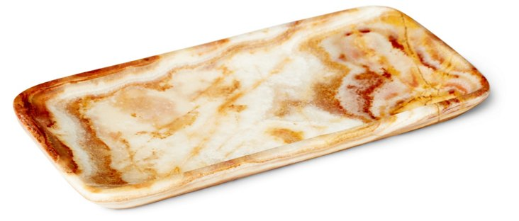 """8"""" Onyx Rectangle Tray, Brown"""